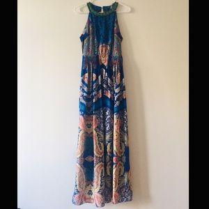 Anthropologie Ranna Gill Beaded Collar Maxi Dress